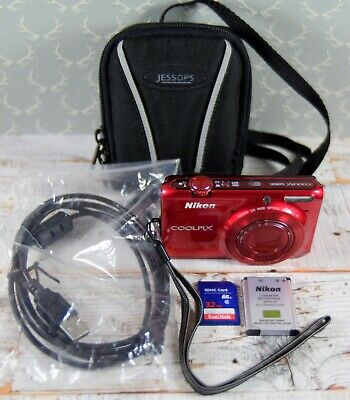 NIKON Red Coolpix S6500 16MP Wide 12x Zoom WiFi VR Digital Camera & Case
