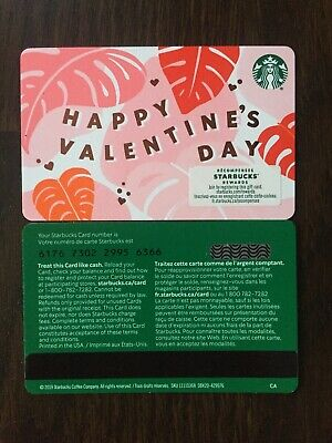 "Canada Series Starbucks ""HAPPY VALENTINES 2020"" Gift Card WITH BLACK MAG STRIPE"