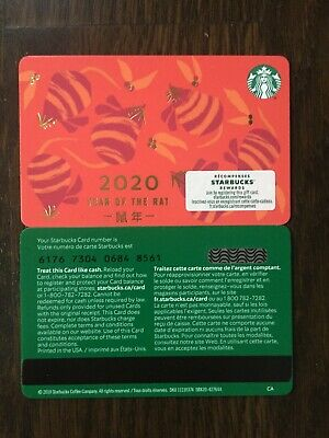 "Canada Series Starbucks ""YEAR OF THE RAT 2020"" Gift Card WITH BLACK MAG STRIPE"