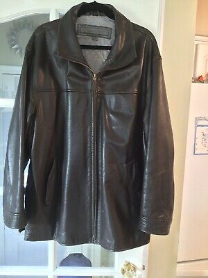 Le Collezioni Structure Mens Dark Brown Leather Lined Quilted Jacket Size L