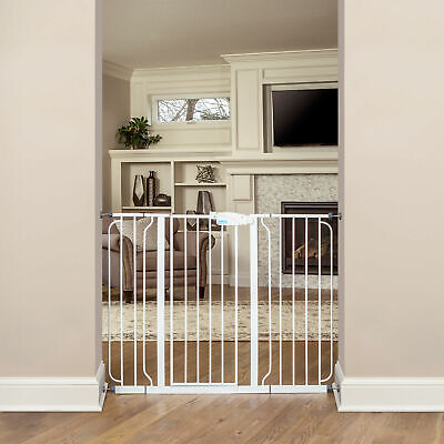 Regalo Metal Frame Adjustable WideSpan Extra Tall Baby Gate, White (Open Box)
