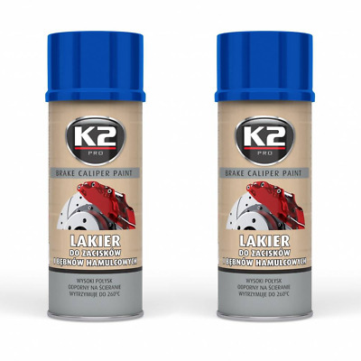2x K2 BREMSSATTELLACK SPRAY 400ML BRAKE CALIPER PAINT BLAU