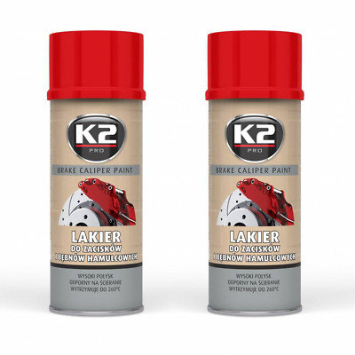 2x K2 BREMSSATTELLACK SPRAY 400ML BRAKE CALIPER PAINT ROT