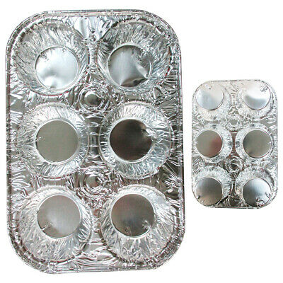 25 Aluminum Foil Muffin Pan 6 Cavity Cake Mold Cupcake Disposable Cup Container
