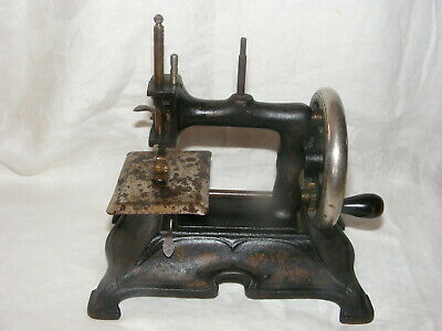 Vintage Child's Toy Sewing Machine Heavy Cast Iron Gold Scrolling Hand Crank