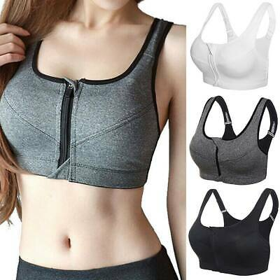 Women Front Zip Sports Bra Push Up High Impact Wireless Yoga Fitness Padded Vest