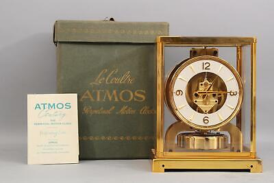 Vintage Modernist LECOULTURE Gilt Brass ATMOS Perpetual Clock 15 Jewels w/ Box