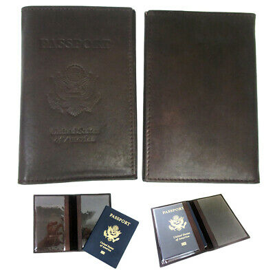 Brown Leather US Passport Cover Travel ID Holder Wallet Case Protector Organizer