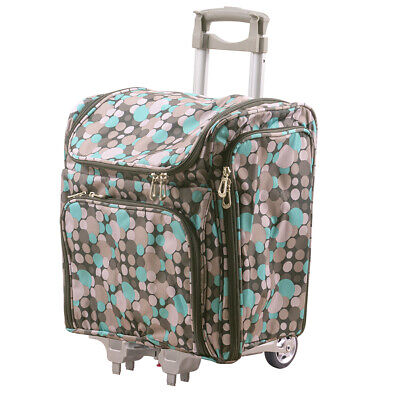 Couture Creations Rolling Travel Craft Trolley Tote Blue Grey Spots