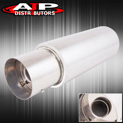 """4.5/"""" N1 Fireball Style Flat Tip Stainless Steel 3/"""" Inlet Pipe Exhaust Muffler"""