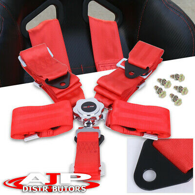 """3"""" Strap 5 Point Jdm Quick Release Camlock Racing Harness Seat Belt Red"""