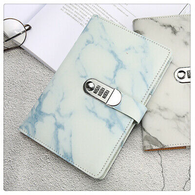 Marbled PU Leather A5 Journal Wired Diary Notebook with Password Code Lock US