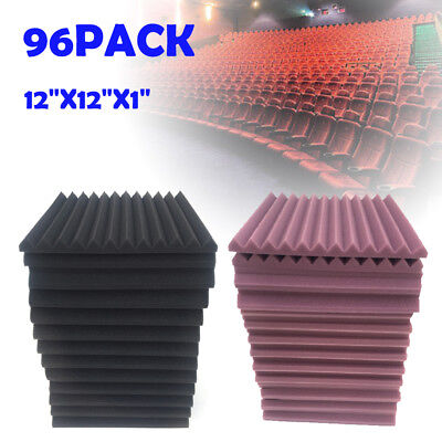 """96 Pack Acoustic Panels Studio Soundproofing Foam Wedge Wall Tiles 1""""x12""""x12"""""""