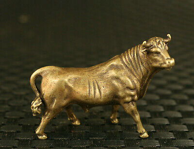 old chinese bronze hand casting cow statue collectable ornament hand piece gift