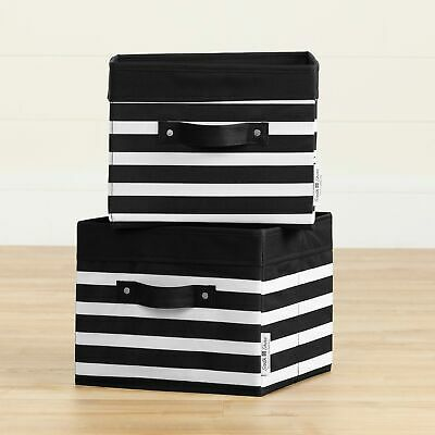 South Shore Storit Black and White Canvas Baskets, 2-Pack