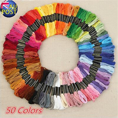 50 Color Egyptian Cross Stitch Cotton Sewing Skeins Embroidery Thread Floss LF