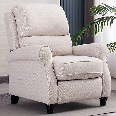 Push Back Recliner Chair With Roll Arm Thickness Cushion Home Living Room Chair
