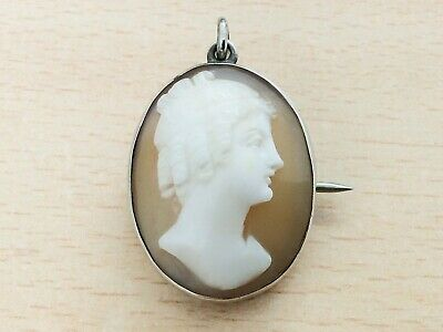 Antique Silver & Hand Carved Cameo Pendant Brooch Pin 1880