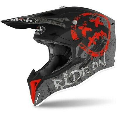 Casco Cross Airoh Wraap Smile Red Opaco 2020 Taglia L