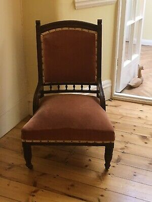 Superb Solid Mahogany Antique Victorian Hall Chair,