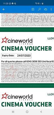 6 x CINEWORLD Cinema tickets (CLUB LLOYDS). EXPIRY: 24/7/2020. *QUICK DELIVERY*