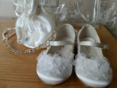 BNWOT Debenhams Ivory Mary Jane Shoes Size UK 5 EUR 22 Jewelled Headband & Bag