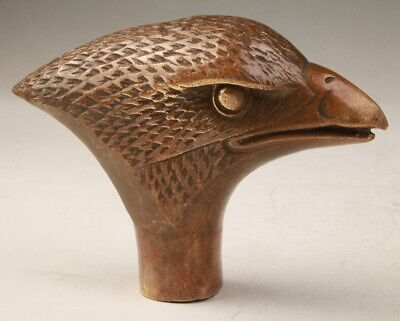 Rare China Bronze Hand-Carved Eagle Head Statue Cane Walking Stick Colle Old