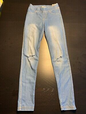 Genuine H&M Jeggins Ripped Knee Girls Eur 146 Age 10 - 11 Blue Holiday Casual
