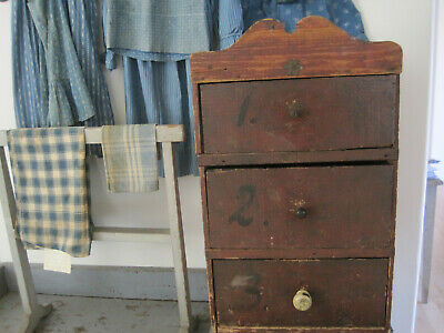 Old Primitive Original Red Paint Three Divided Drawers Cabinet Hand Made AAFA