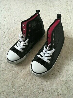 Girls H&M casual sparkly black canvas style ankle boot EUR 34 (UK 2) exc con