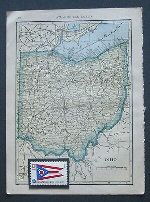 1909 Original Map of Ohio &Tennessee + 1976 State Flag Bicentennial Stamps