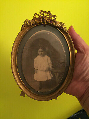 ANTIQUE French ORMOLU Gilded Bronze Stand Up Picture Photo Frame w/girl photo