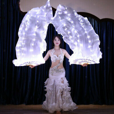 128 LED Lights Belly Dance Fan Veils Folding Fan with USB Charger Right Hand
