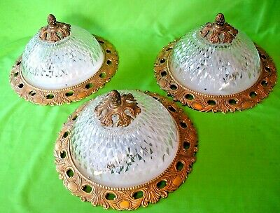 Old vintage mid century French brass & cut glass Plafonnier flush ceiling light