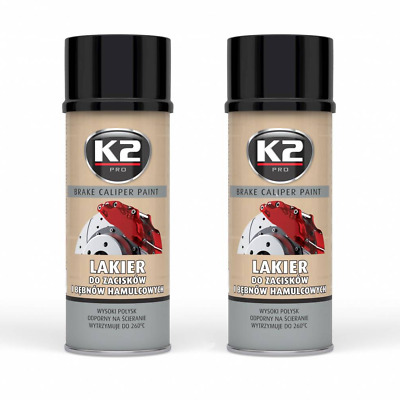 2x K2 BREMSSATTELLACK SPRAY 400ML BRAKE CALIPER PAINT SCHWARZ