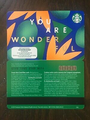 "Canada Series Starbucks ""YOU ARE WONDERFUL 2020"" Gift Card WITH BLACK MAG STRIPE"