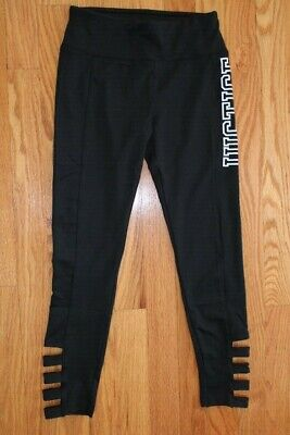 """Justice Girls' Size 10 Black Leggings -  """"JUSTICE"""" Graphic with Detail on Legs"""