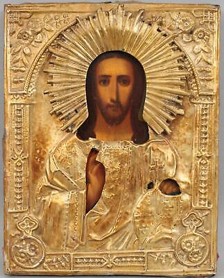 Antique 19th century, Russian Gilded Icon, Jesus Christ Painting NO RESERVE!