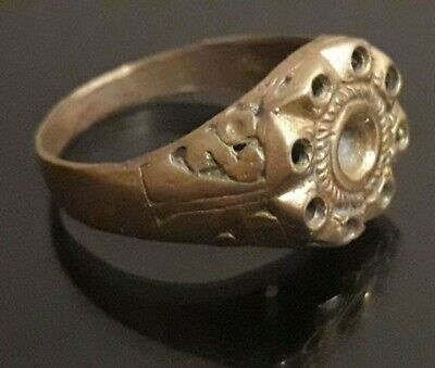 Ancient Antique Stunning Ring Viking Bronze Very Rare Antique Stone Artifact