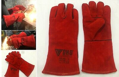 Welding Work BBQ Gauntlets Woodburner Stoves Grill Oven Genuine Leather Gloves