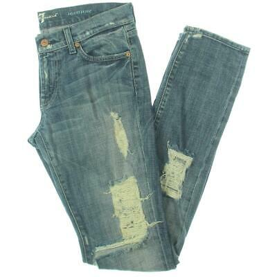 7 For All Mankind Womens Roxanne Blue Distressed Straight Leg Jeans 28 BHFO 3707