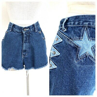 Vintage VTG 1980s 80s Western Ethics Star Dark Wash Denim Cutoffs Shorts