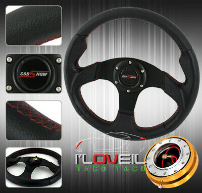 """320mm Type R All Blk Jdm Steering Wheel +Gold 1.5"""" Slim Quick Release & Horn But"""