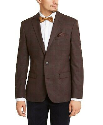 Bar III Men's Slim-Fit Plaid Sport Coat Blazer Jacket Burgundy Red 46R NEW $325