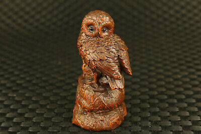chinese old boxwood hand carved owl statue on stone statue collection decor gift
