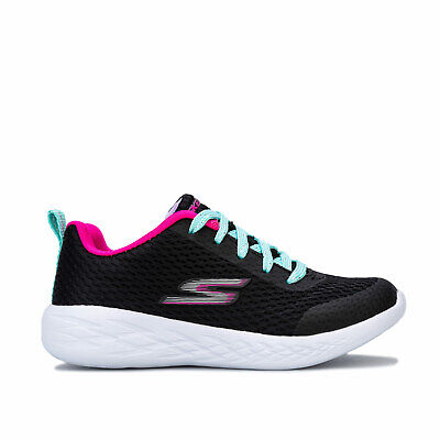 Children Girls Skechers Go Run 600 Fun Run Trainers in Black.