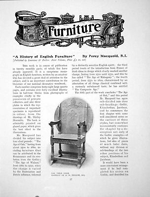 Antique Old Print A History English Furniture Oak Table ChairPages 1905
