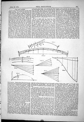 Antique Old Print 1878 Cast Iron Arches Engineering Diagrams Curve Pressure
