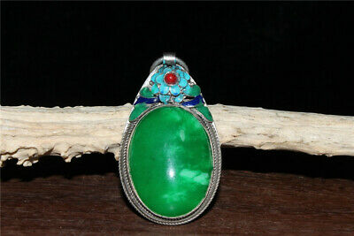"""3.35""""Exquisite Chinese silver Cloisonne Handmade inlay Emerald Pendant"""