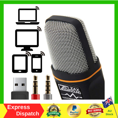 ZaxSound Professional Condenser Microphone For PC Laptop IPhone IPad Android NEW